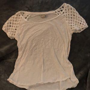 Lucky brand white T-shirt crochet shoulder